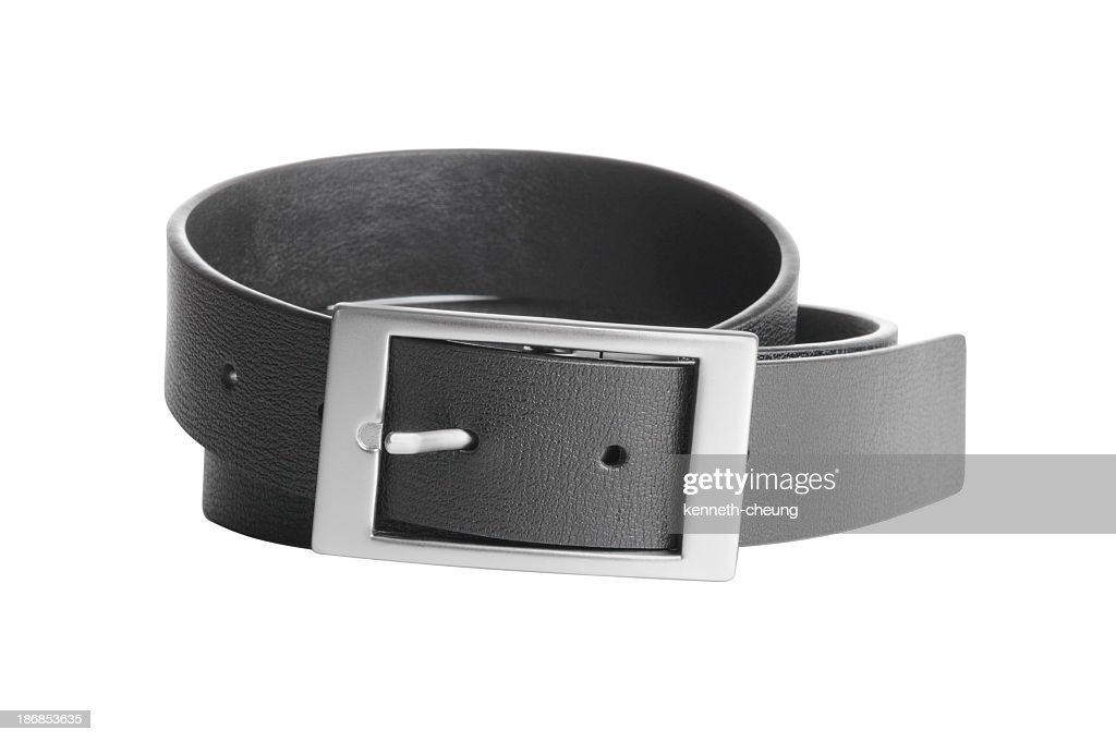 Men's Black Leather Belt - Isolated on White