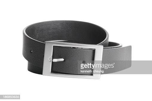 A black leather belt with chrome buckle