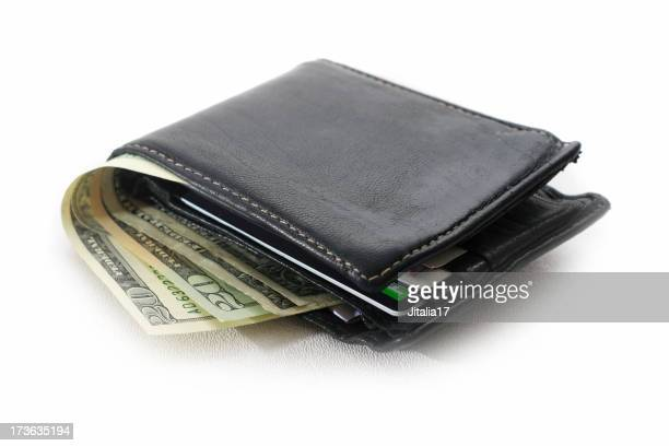 A black leather bi-fold wallet with cash and cards