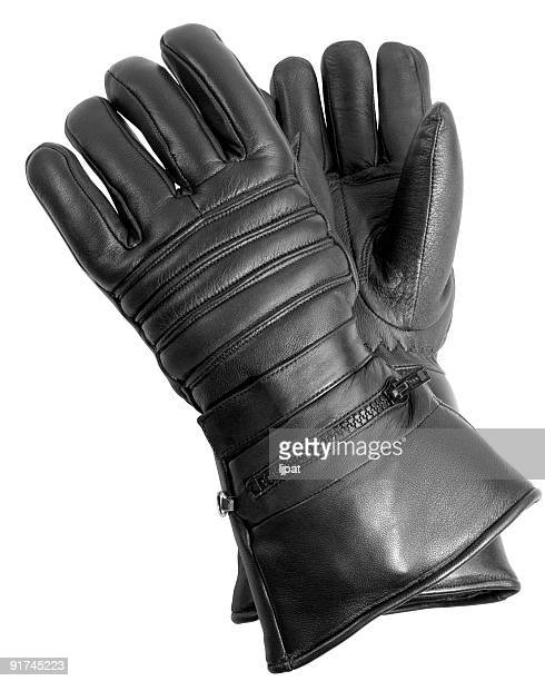 Black Leather Biker Gloves