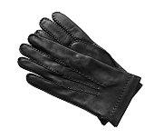 Black leather gloves isolated on white background.