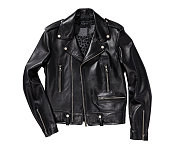 black leather jacket isolated on white background (with clipping path)