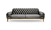 Black leather Luxurious sofa on white background, included clipping path