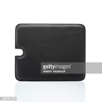 black leather tablet cover : Stock Photo