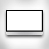 LCD or LED tv screen hanging on the wall with clipping path