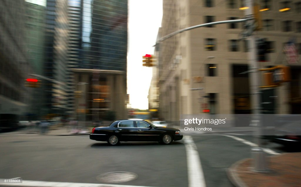 A black limousine-service car makes its way down Broad Street August 9, 2004 in New York City. Government officials have warned that intelligence points toward terrorists considering using tourist helicopters and Manhattan's ubiquitous limousine cars as possible attack vehicles on the city.