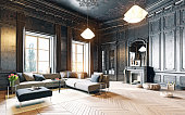 modern style black living room apartment. 3d rendering
