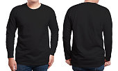 Black long sleeved t-shirt mock up, front and back view, isolated. Male model wear plain black shirt mockup. Long sleeve shirt design template. Blank tees for print
