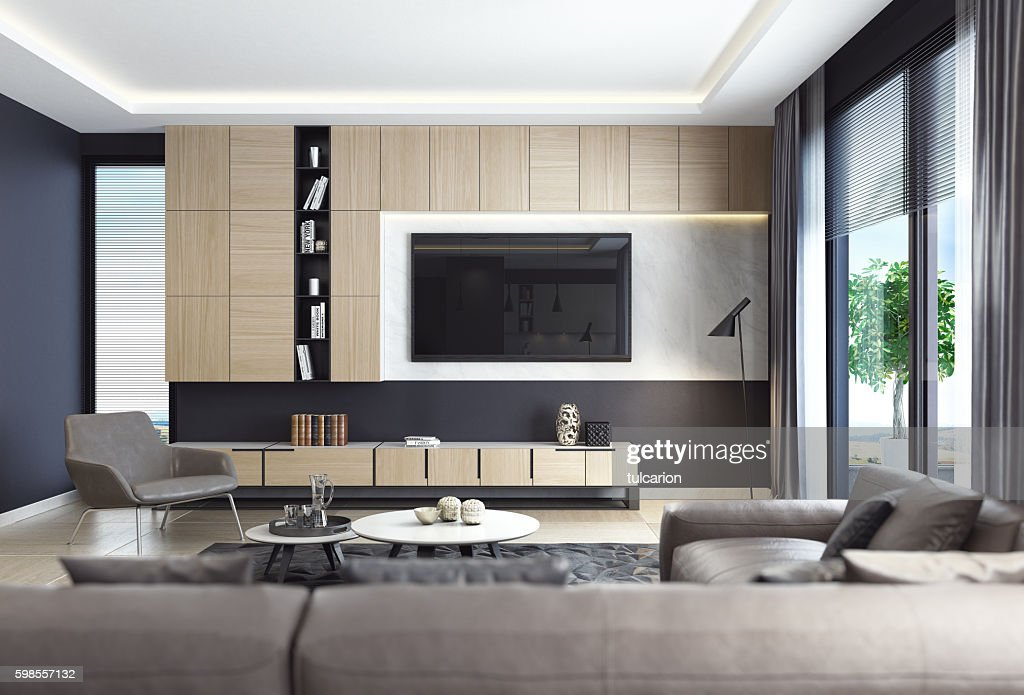 Black Luxury Living Room Interior With Leather Sofa And TV Part 96
