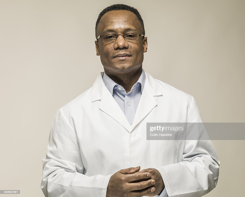 Black male in laboratory coat