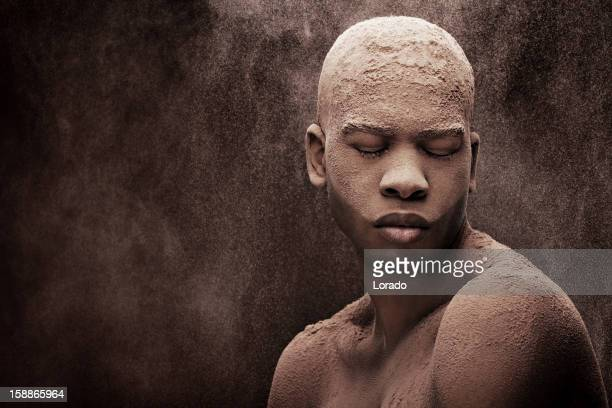 black male model covered with powder