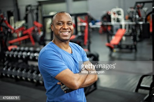 Black Male Standing in Gym After Workout : Stock Photo