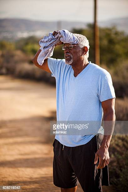 Black Man drying off with towel