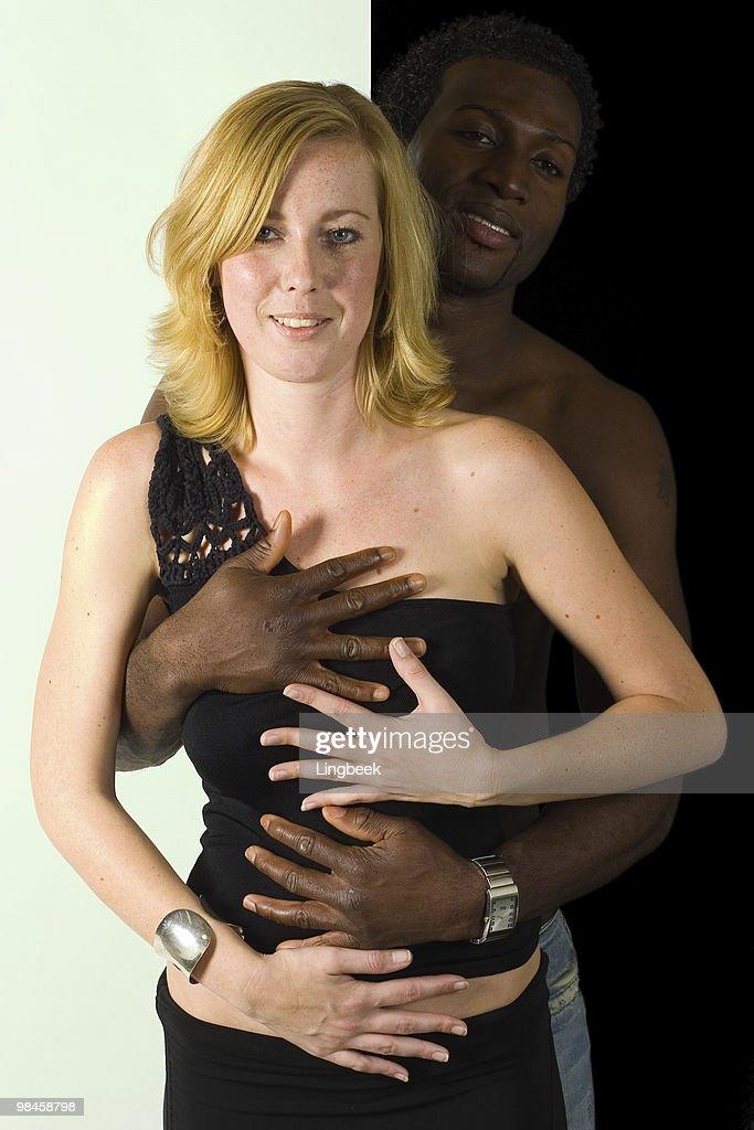 Powerful Glamorous Black Couple: Black Man White Girl United Colors Stock Photo