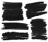 Set of black marker paint texture isolated on white background