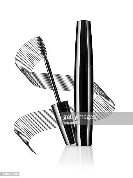 Black mascara in front of white background