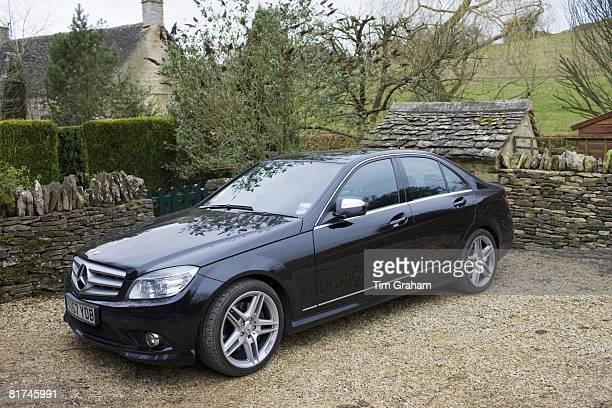 Black Mercedes C350 sport saloon car Cotswolds Oxfordshire United Kingdom