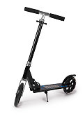 Black metal scooter isolated on white background