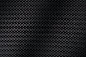 matt, black, perforated metal texture with mesh