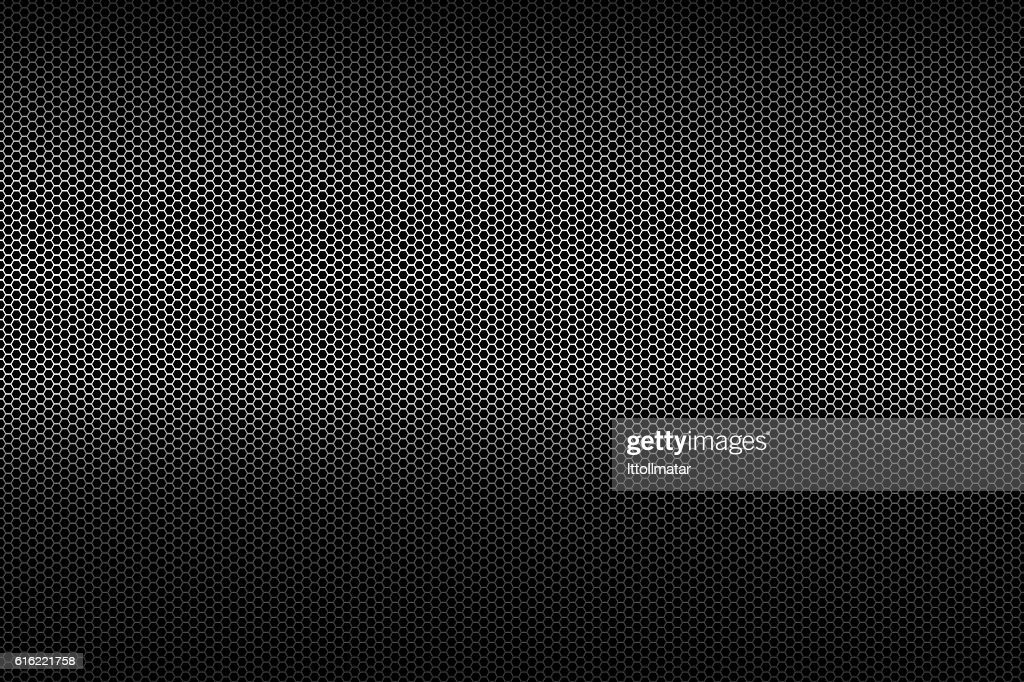 black metallic polygon honeycomb grid texture pattern background : ストックフォト