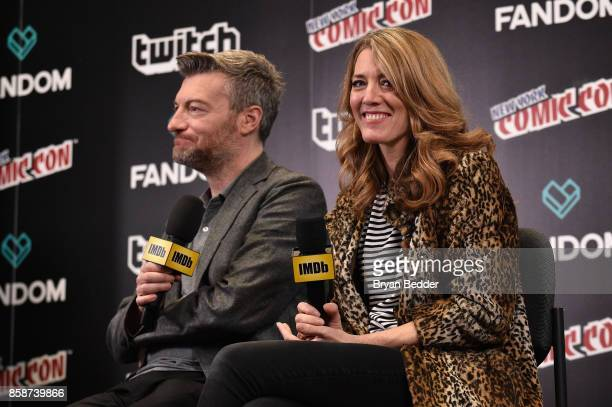 Black Mirror Creator writer producer Charlie Brooker and Executive Producer Annabel Jones speak onstage during IMDb LIVE at NY ComicCon at Javits...