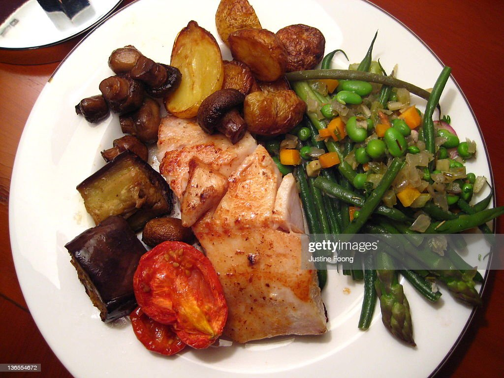 Black Miso Cod and Vegetables : Stock Photo