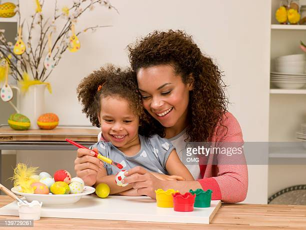 Black mother and cild painting Easter egg