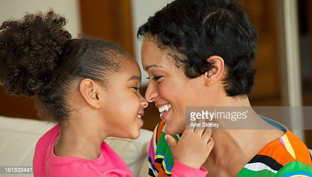 Black mother and daughter bonding