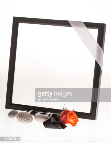 black mourning frame with flower : Stock Photo