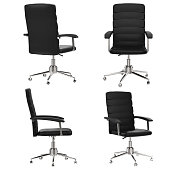 black office chair in four angle isolated on white