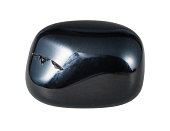 natural mineral gem stone - Black Onyx gemstone isolated on white background close up