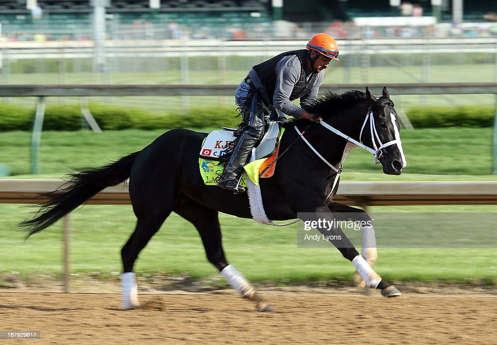 Black Onyx runs on the track during the morning training for the 2013 Kentucky Derby at Churchill Downs on May 2, 2013 in Louisville, Kentucky.