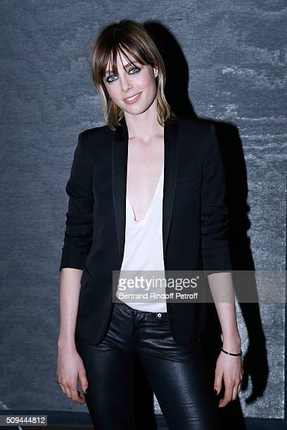 Black Opium perfume Muse Model Edie Campbell attends YSL Beauty launches the New Fragrance 'Black Opium Nuit Blanche' on February 10 2016 in Paris...