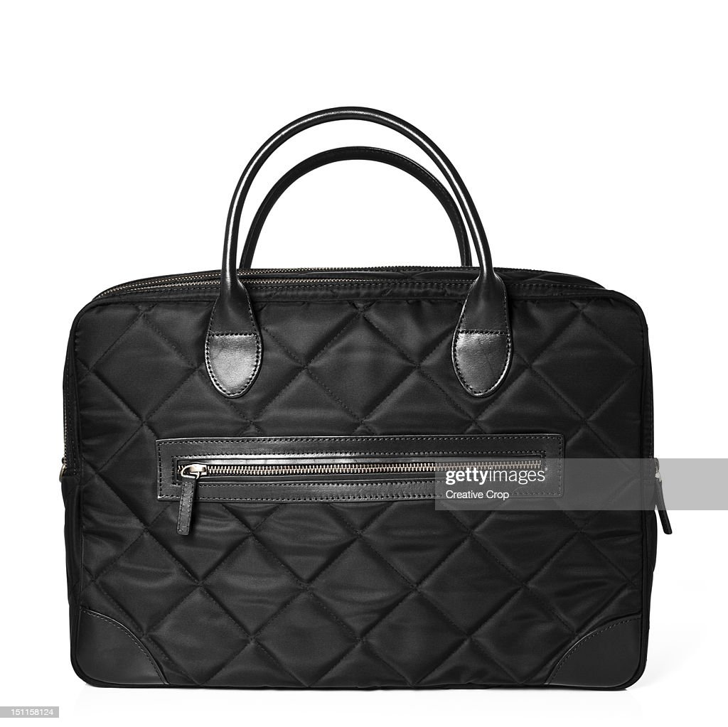 Black padded handbag : Stock Photo