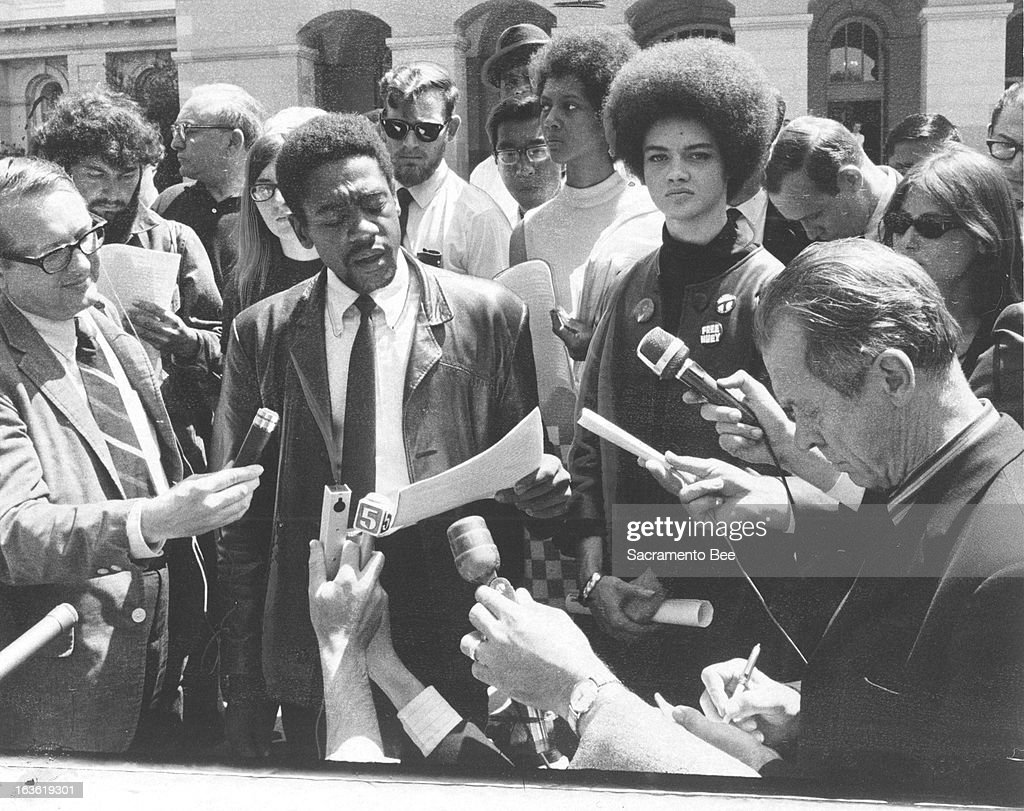 Black Panther Bobby Seale, in a file image in Sacramento, California, while running for a State Assembly seat in May 1968. He's joined by Kathleen Cleaver, wife of Panther leader Eldridge Cleaver, who was shot during a shootout with Oakland police early in 1968.