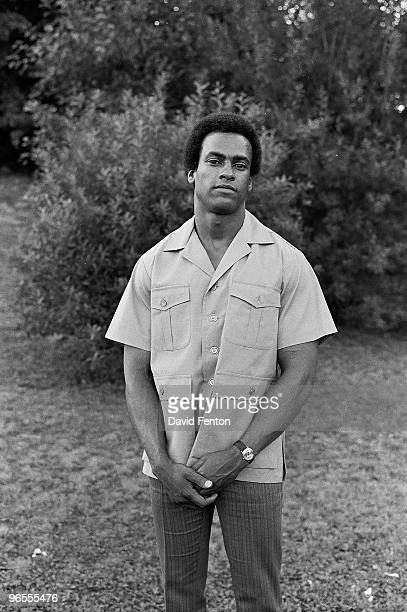 Black Panther Party cofounder Huey P Newton stands for a portrait on the campus of Yale University New Haven Connecticut probably April 1970