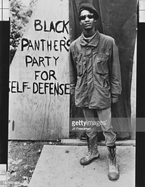A Black Panther Party member from Oakland California stands outside his makeshift shelter in Resurrection City a three thousand person tent city on...