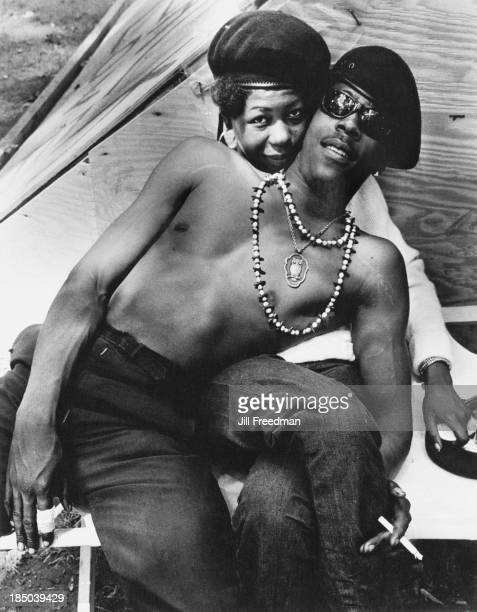 A Black Panther Party member relaxes with a friend in Resurrection City a three thousand person tent city on the Washington Mall set up as part of...