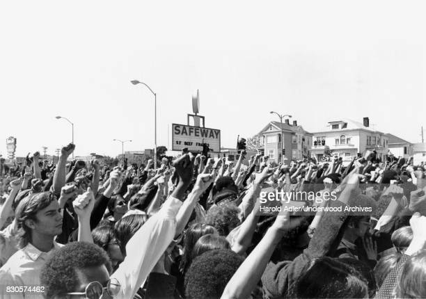 A Black Panther rally against Safeway Oakland California circa 1969