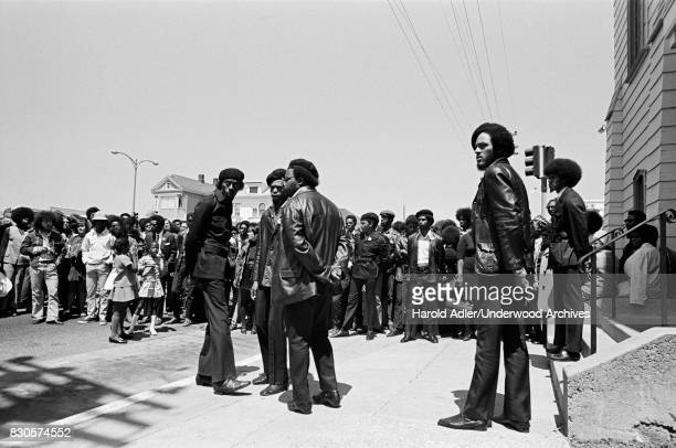 Black Panthers at the gathering for the funeral of fellow Black Panther George Jackson at St Augustine's Episcopal Church Oakland California 1971