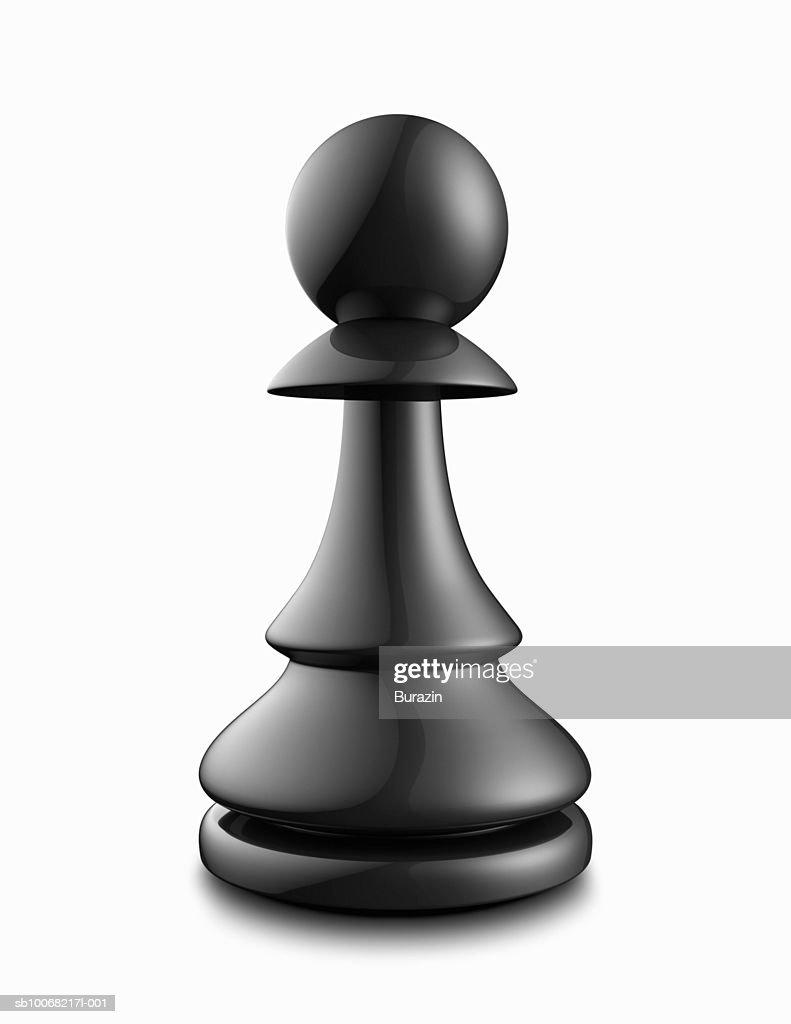 Black pawn on white background