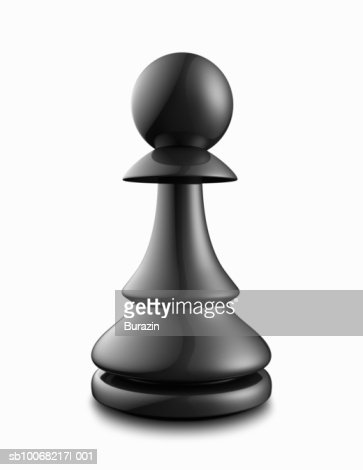 Black pawn on white background