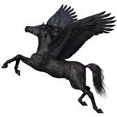 A magical black Pegasus spreads its wings and flies up into the sky.
