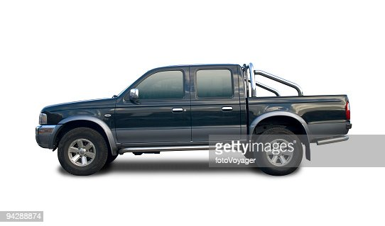 Black pick up truck with clipping paths