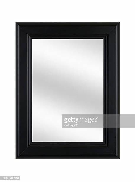 Black Picture Frame with Mirror, Classic, White Isolated