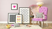 picture frames with pink bergere and wooden parquet decor, background, template design
