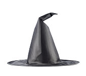 Black pointed cone shaped witch hat isolated over the white background