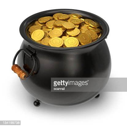 black pot full of gold coins stock photo thinkstock