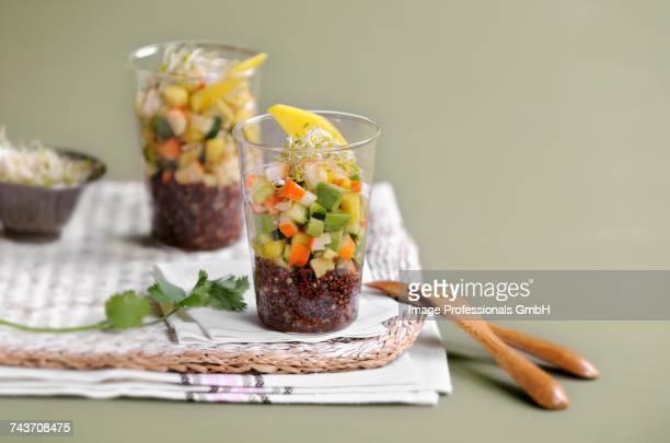Black quinoa,surimi and vegetable Verrine