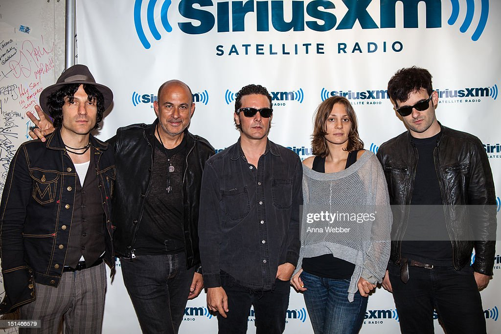 Black Rebel Motorcycle Club visit ÒNew York NightsÉDirect from the BoweryÓ hosted by John Varvatos and <a gi-track='captionPersonalityLinkClicked' href=/galleries/search?phrase=Jesse+Malin&family=editorial&specificpeople=3049813 ng-click='$event.stopPropagation()'>Jesse Malin</a> in the SiriusXM studio at SiriusXM Studio on September 7, 2012 in New York City.